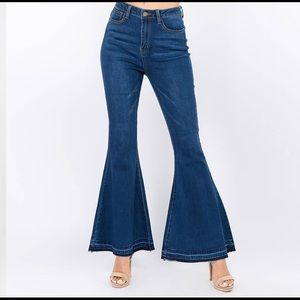Denim - High Waist Denim Flared Jeans - DARK BLUE ONLY